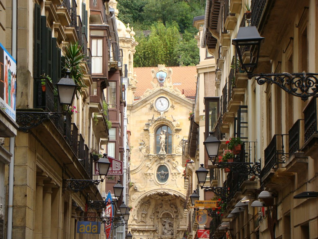 Street view with Santa Maria Church at the end