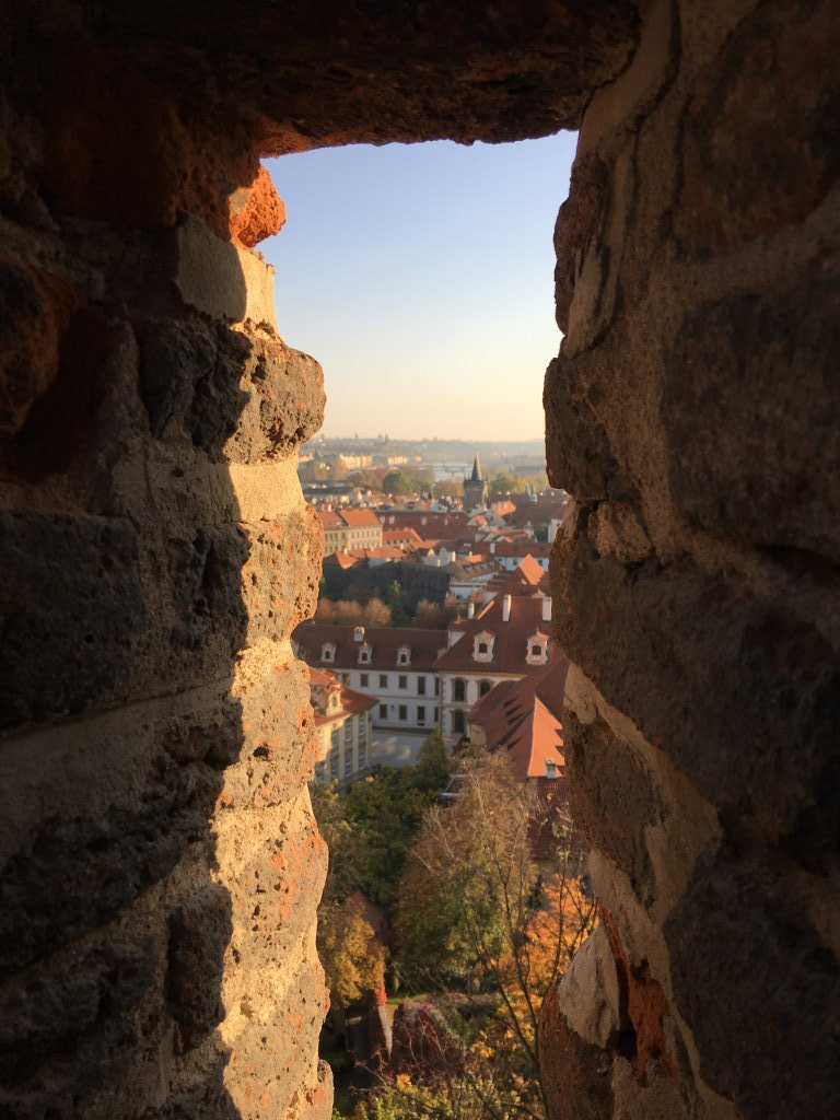 Straight arrow view of city from Prague Castle grounds