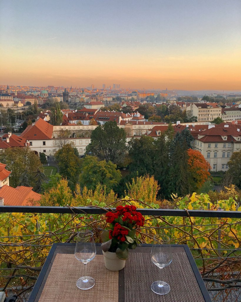 View of city from St. Wenceslas' Vineyard at Prague Castle