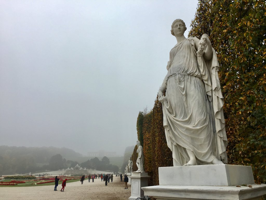 Schönbrunn Garden under grey skies