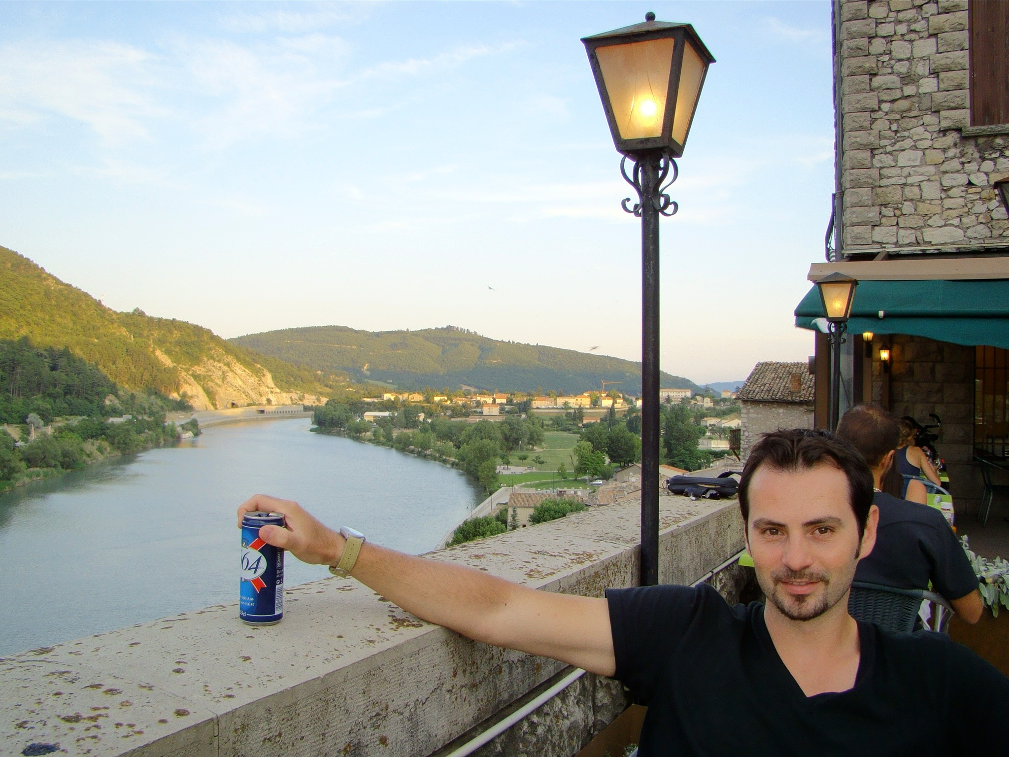 Beer stop in Sisteron (with Durance river in back)