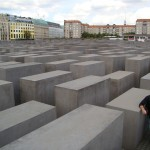 "It consists of a 19,000 square metres (4.7 acres) site covered with 2,711 concrete slabs or ""stelae"", arranged in a grid pattern on a sloping field"