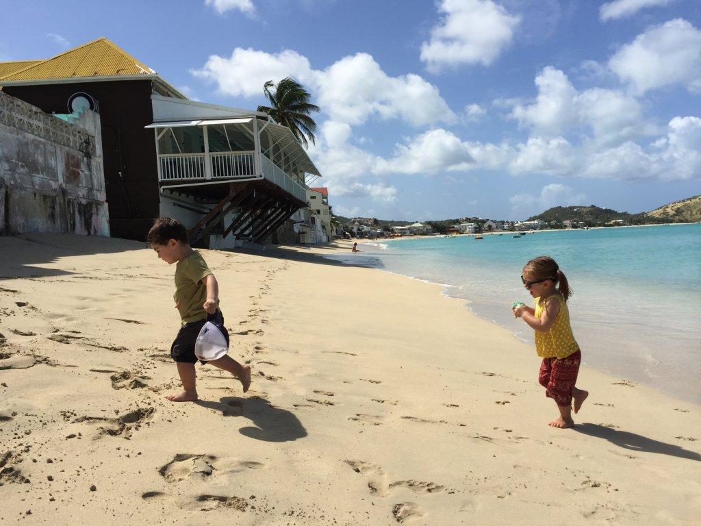 Jasper and Olivia having fun on Grand Case Beach